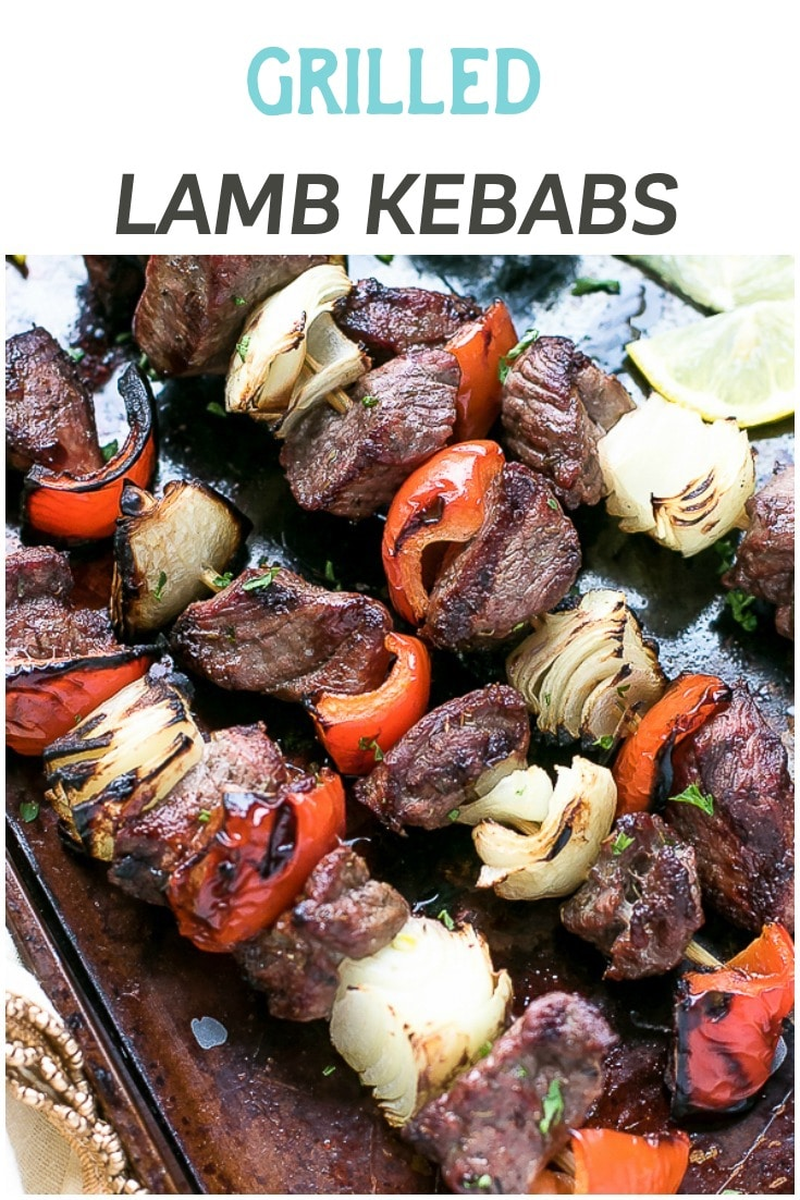Grilled Greek Lamb Kebabs Recipe - tender and flavorful pieces of marinated lamb, grilled to perfection on wooden skewers with peppers and onions. Perfect for grilling season and summer parties. #Greekfood #Easter #lamb #lambkebabs Grilled lamb, led of lamb, lamb kebabs, tender lamp, lamb recipe