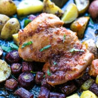 sheet pan harissa chicken potatoes carrots for dinner