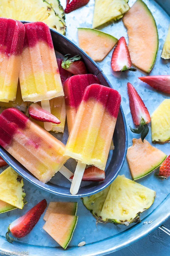 Pineapple Strawberry Cantaloupe Popsicles fruity colorful FUN and delicious