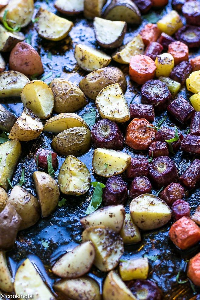 sheet pan harissa chicken potatoes carrots for dinner
