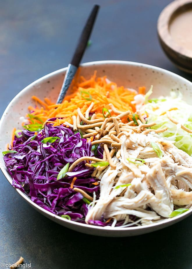 Easy Chinese Chicken Salad With Peanut Dressing And Cabbage