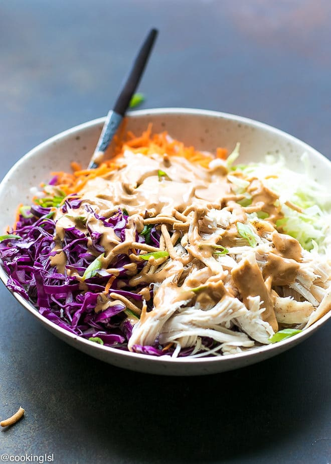 Easy Chinese Chicken Salad With Peanut Dressing Simple Ingredients for non-Asian home cooks