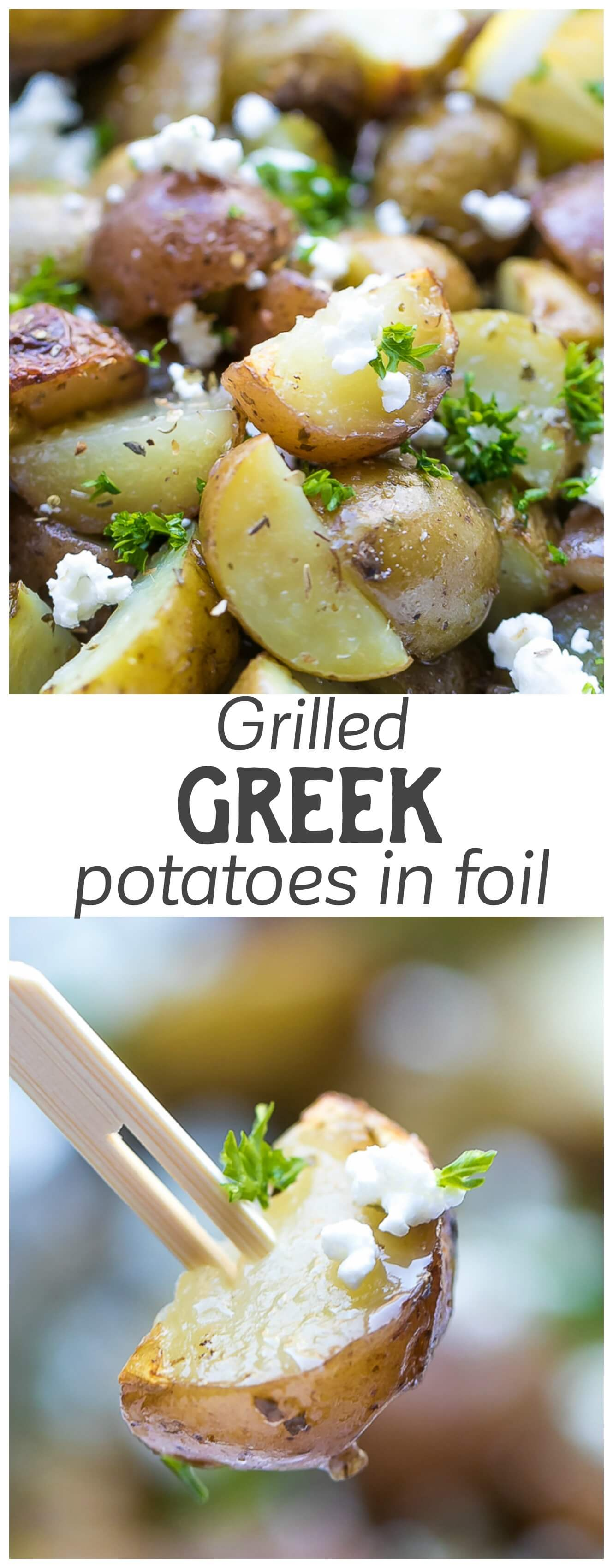 Grilled Greek Potatoes In Foil - quick and very easy to make, these potatoes are tender, flavorful and delicious. Mediterranean, Lemon, Feta Potatoes.