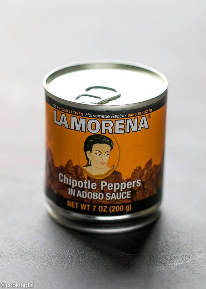 La Morena chipotle peppers in Adobo in a can. Perfect for easy slow cooker barbacoa beef.