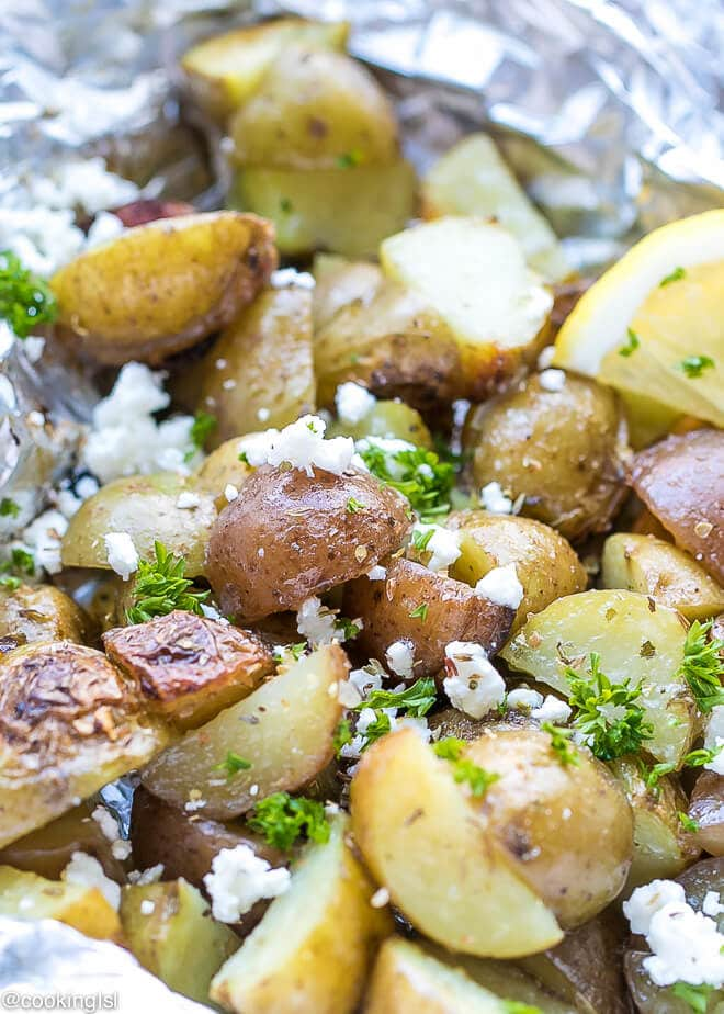 Simple grilled potatoes in foil packets Greek seasoning, ready in 30 minutes, topped with feta and lemon juice