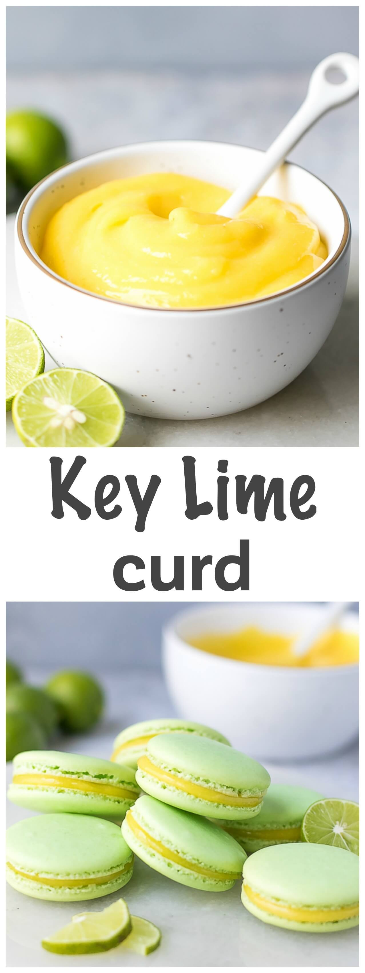 Key Lime Curd Recipe - tangy, rich and sweet, this key lime curd is easy to make and perfect for pancakes, toast, macarons or to just eat it with a spoon.