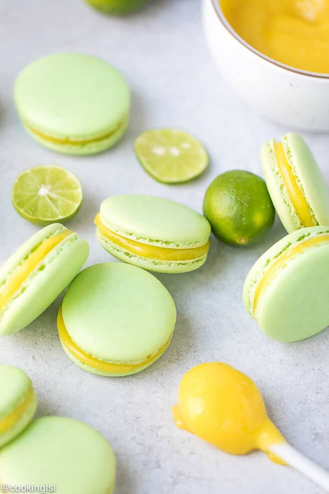 Key lime curd as a key lime macaron filling. Lime green macarons, filled with tangy lime curd.