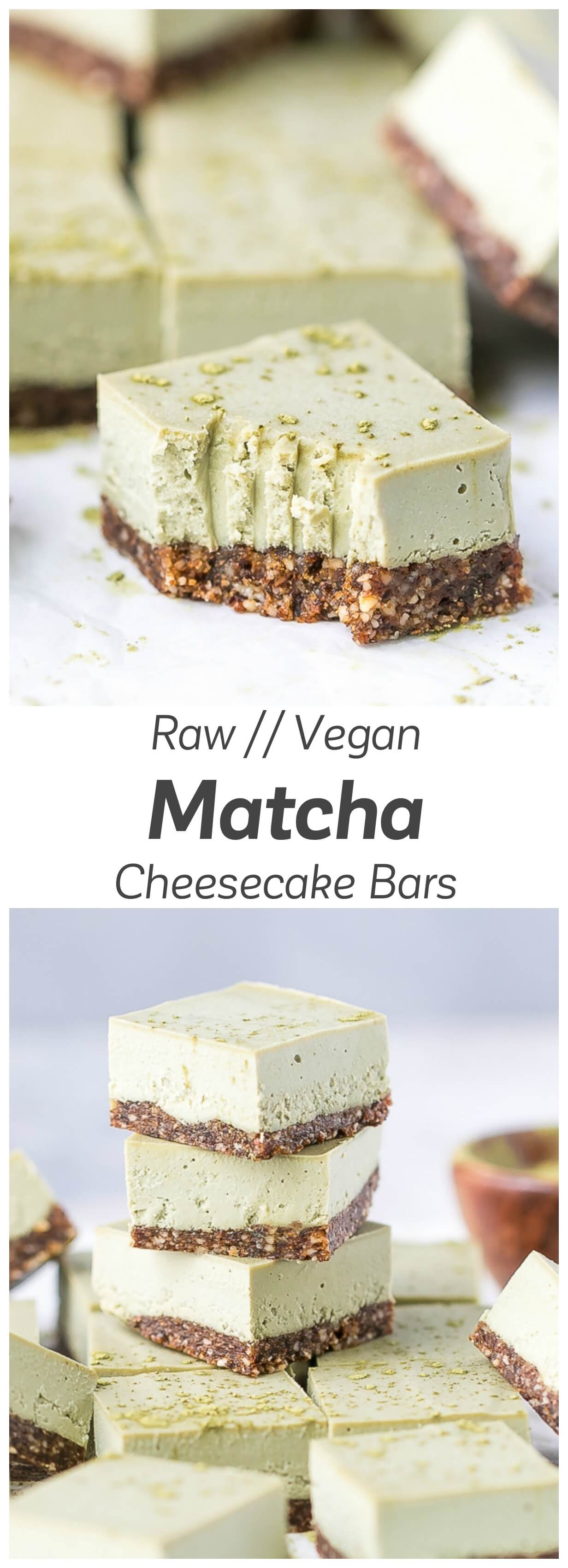 Raw Matcha Cheesecake Bars Recipe - clean, light and nutritious, these cheesecake bars taste creamy and delicious.