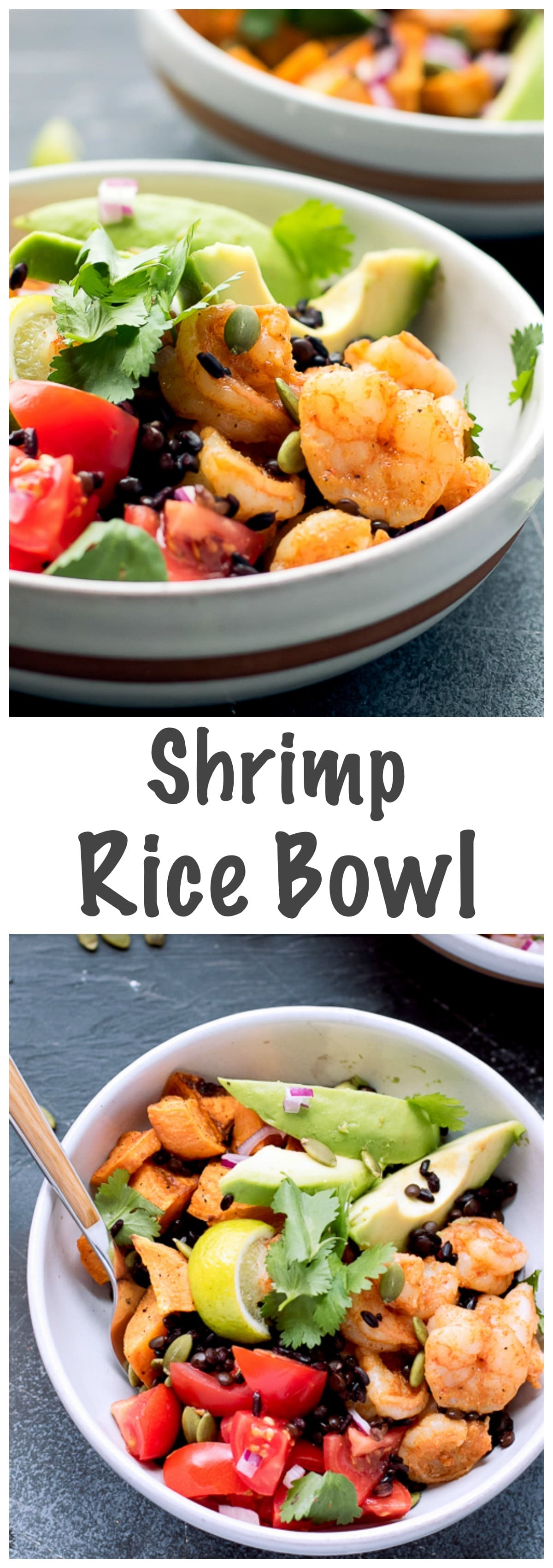 Shrimp Rice Bowl Recipe - a gluten free, nutritious and delicious bowl, perfect for a quick and healthy meal. Made with Village Harvest Antioxidant Blend.