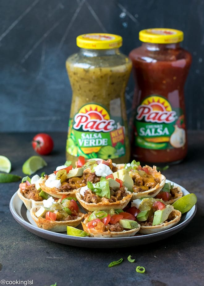Crunchy Taco Cups With Tortillas, turkey and salsa verde recipe. Made with Pace® Salsa and perfect for a game day appetizer. Ready in 30 minutes.