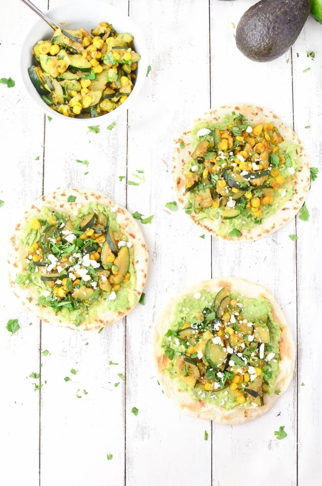 Corn and zucchini tacos with guacamole. Easy, healthy, vegetarian summer meal.