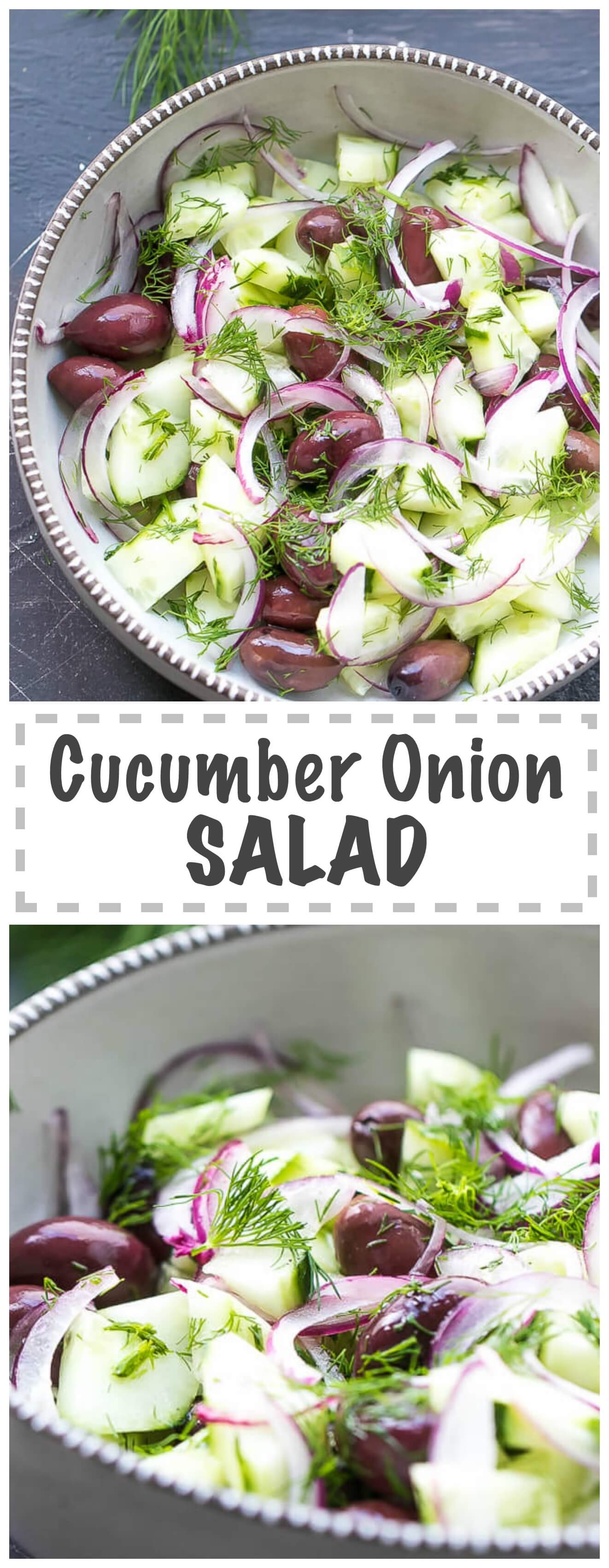 Cucumber And Onion Salad With Apple Cider Vinegar And Olives - crunchy, flavorful and easy to make, this salad is perfect for summer. Inspired by Mediterranean cuisine, this salad is popular in my home country - Bulgaria.