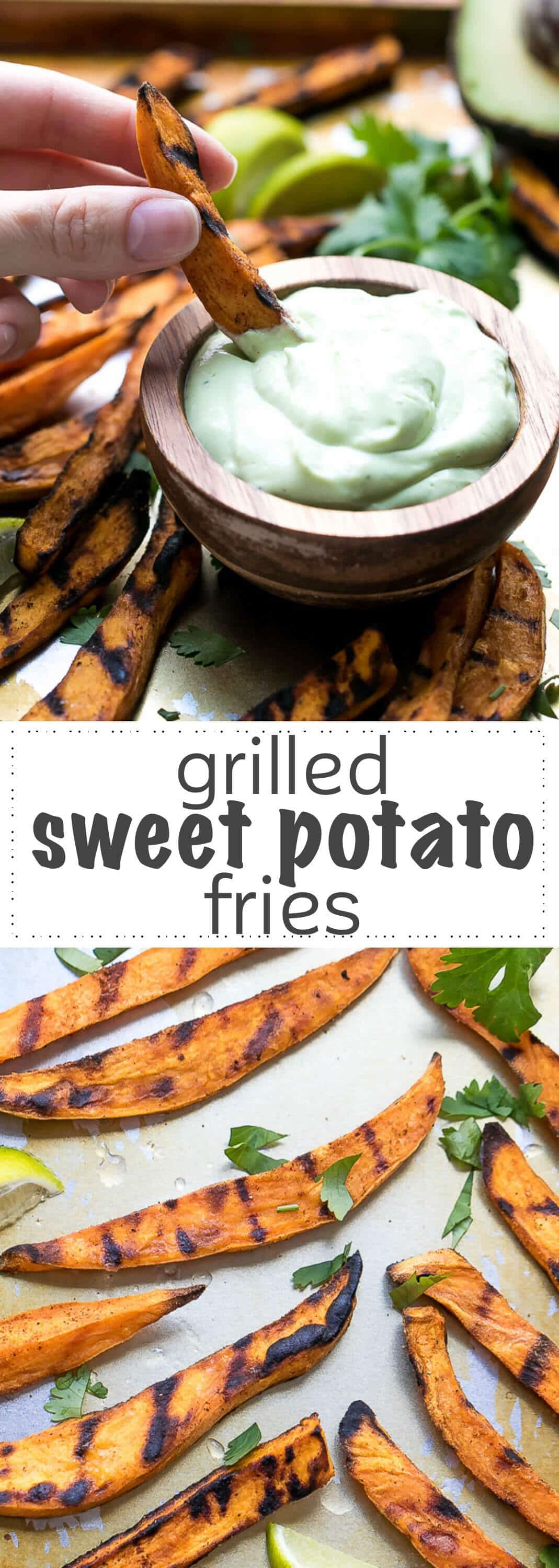 How To Grill Sweet Potato Fries - perfectly cooked with dark grill marks on the outside, these sweet potato fries are made exclusively on the grill, no boiling requited. Great for an appetizer or a grilling party side dish.