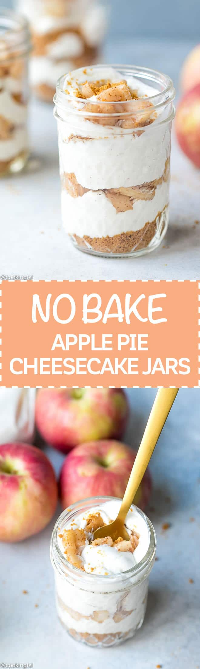 Healthy No Bake Apple Pie Cheesecake In A Jar Recipe - the perfect quick to make and super delicious sweet treat. Great for fall, made with a few simple ingredients in under 15 minutes. Store and serve it in a small mason jar for portion control and convenience.