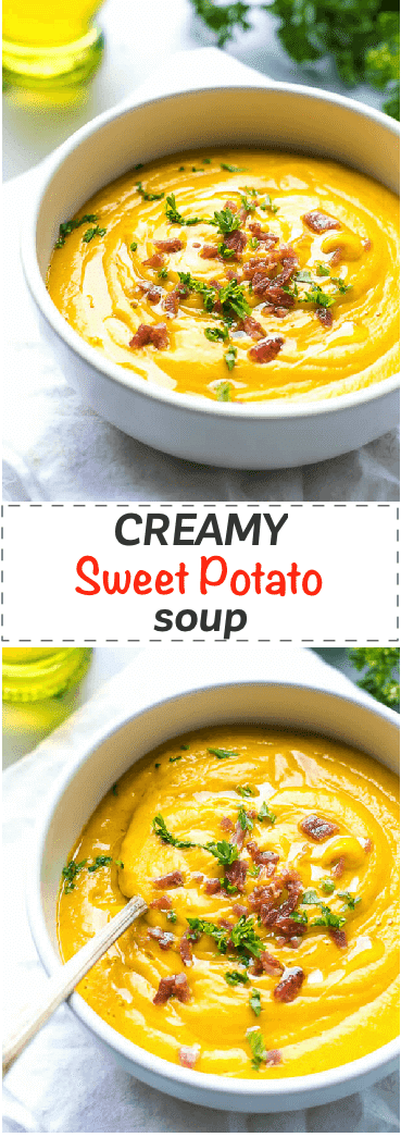 Creamy Sweet Potato Soup Recipe - easy and effortless to make, this soup is light and nutritious, perfectly paired with a sandwich or salad for a healthy lunch or dinner. Kid friendly and ready in under 30 minutes.