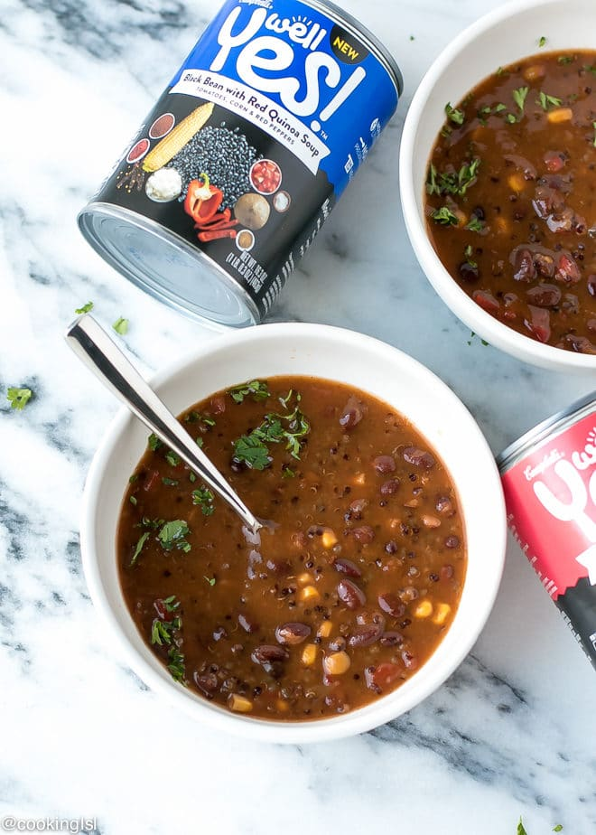 Campbells Yes® Soup in a bowl with can on the side