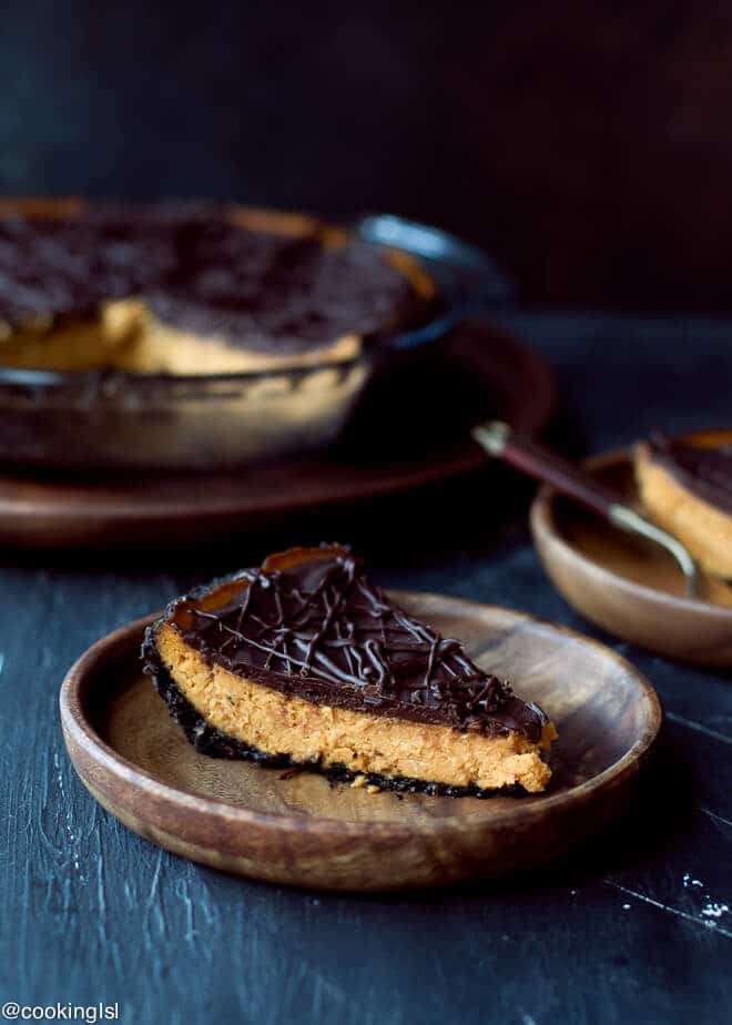 Two sliced on pumpkin pie for the holidays. Light and easy to make. Dark Chocolate Pumpkin Pie With Chocolate Crust Recipe.