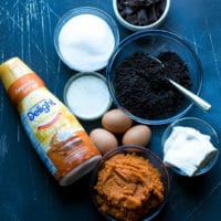 Ingredients for Dark Chocolate Pumpkin Pie With Chocolate Crust Recipe.
