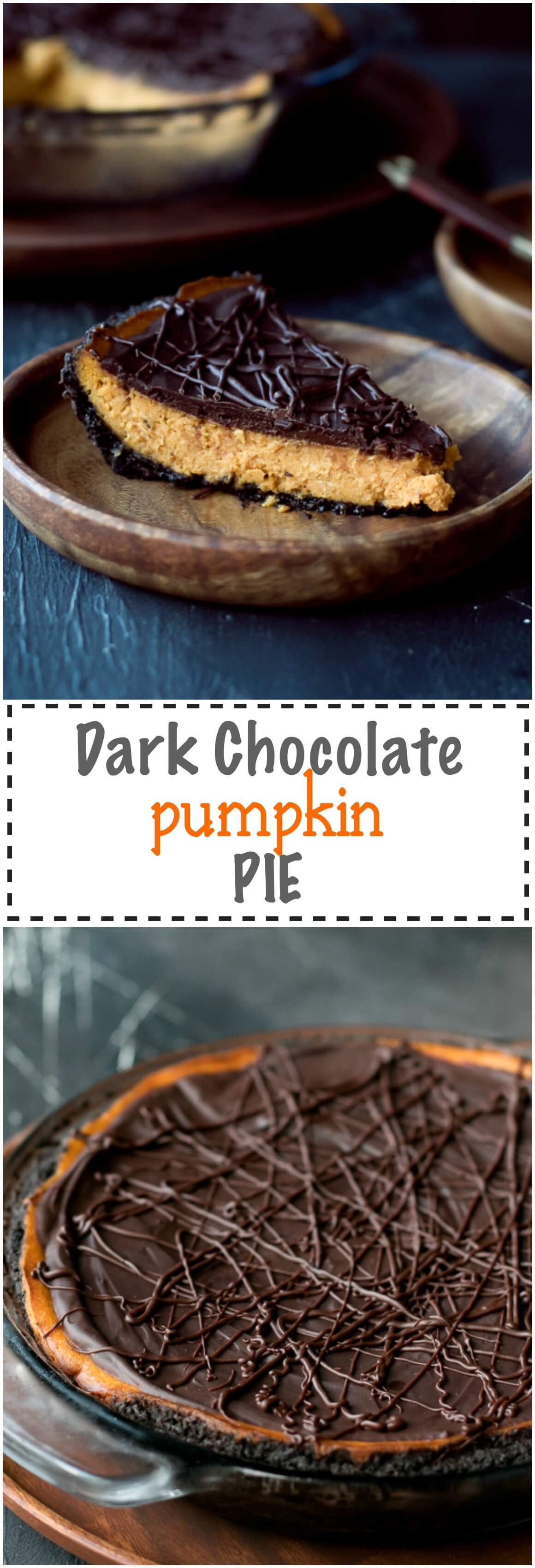 Dark Chocolate Pumpkin Pie With Chocolate Crust Recipe - quick and simple to make, this pumpkin pie has a thin chocolate crust, creamy pumpkin filling and a layer of dark chocolate ganache glaze on top. Seasoned with pumpkin pie spice and made with International Delight® Pumpkin Pie Creamer.