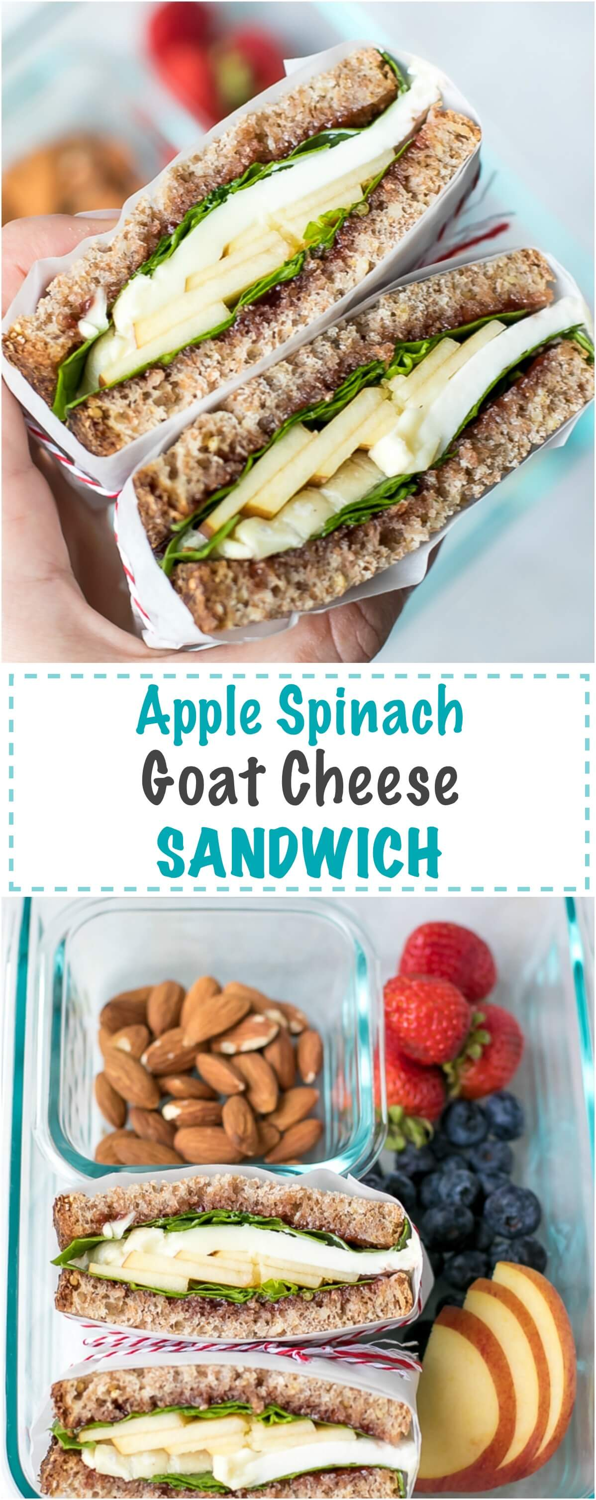 Apple Spinach Goat Cheese Sandwich - Packed Lunch - the perfect, simple to make, healthy and delicious sandwich. Vegetarian, packed with sweet apples, spinach, strawberry jam and creamy Chevre D'Argental goat cheese on a whole grain bread. Ready in less than 5 minutes, this sandwich is great to pack and take to work or school.