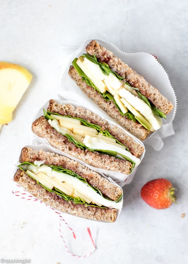 Apple Spinach Goat Cheese Sandwich - Packed Lunch. Helathy low calorie and low fat goat cheese sandwich.