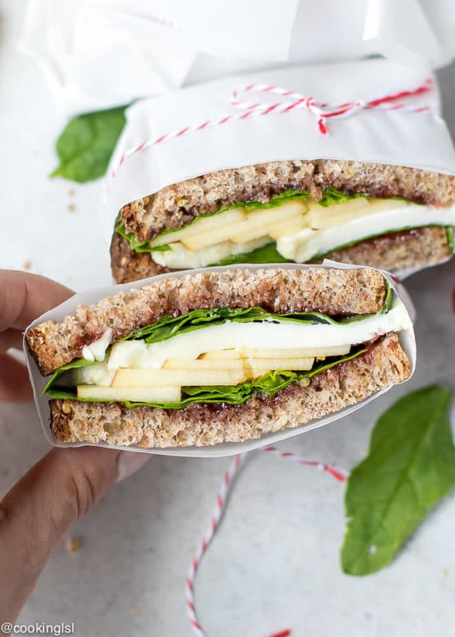 Apple Spinach Goat Cheese Sandwich - Packed Lunch.