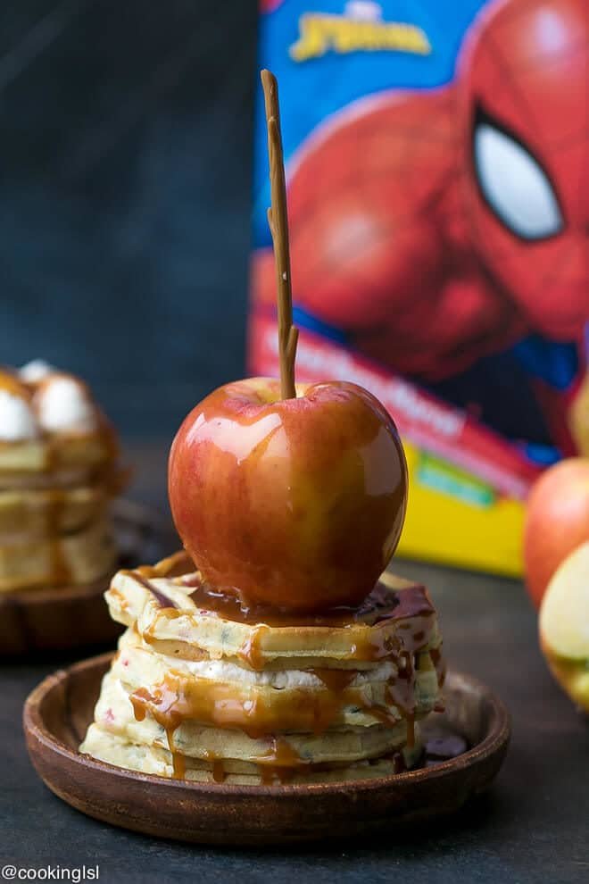 Caramel Apple Waffle Cake Recipe. Stack pf waffles with caramel apple on top. Made with Kellogg's® Eggo® Spider-Man Mixed Berry Marvel, 16 ct.