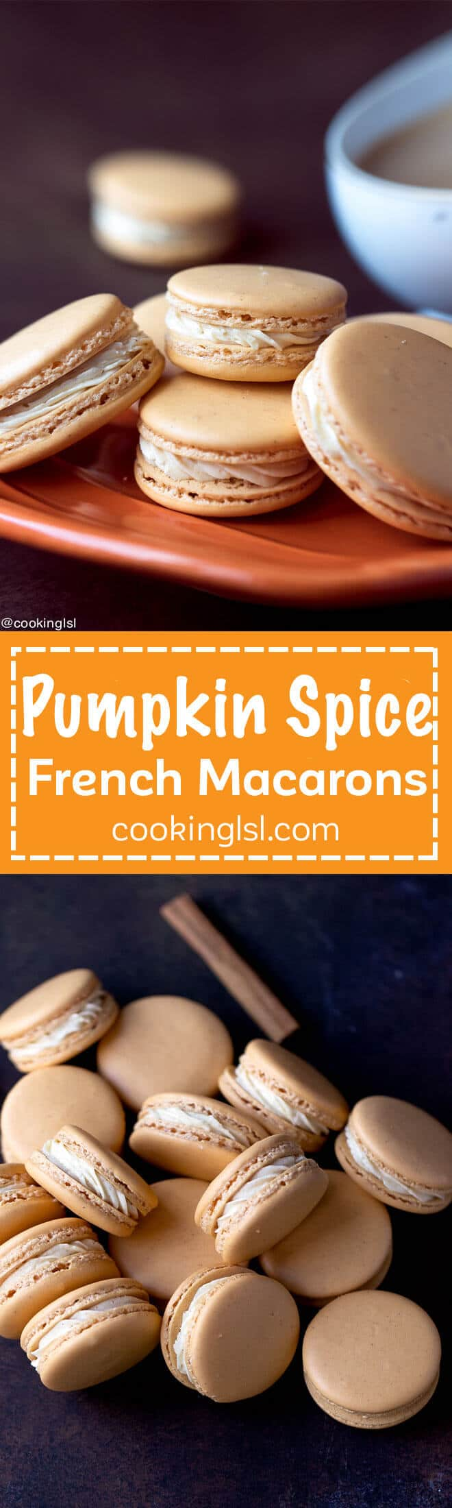 Pumpkin Spice Macarons Recipe - sweet, chewy, full of wonderful flavors, perfect for fall!