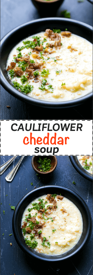Cauliflower Cheese Soup Low Carb Recipe - simple to make, low calorie, chunky, creamy and very tasty. This amazing soup is ready in 30 minutes, made with basic ingredients and perfect for kids and adults.