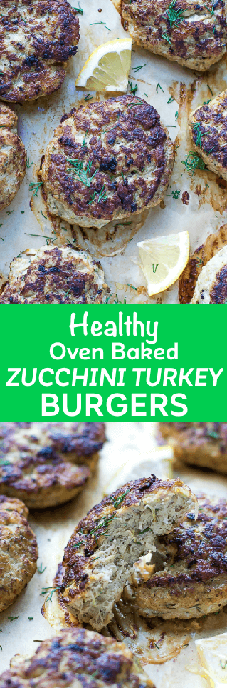 Oven Baked Turkey Zucchini Burgers Recipe - juicy, healthy, flavorful and quick to make. Low calorie and low fat, baked to perfection in the oven. #turkeyrecipes #zucchinirecipes #turkeypatties #zucchinipatties