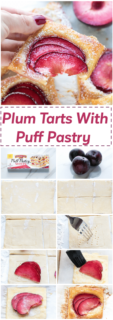 Easy Mini Plum Tarts Recipe With Puff Pastry - very quick and easy to make with just four simple ingredients, these tarts come together in 20 minutes.