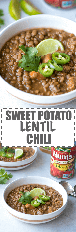 Sweet Potato Lentil Chili Recipe - simple to make in a crock pot, nutritious and delicious meal. Just a few ingredients and minimal prep work. Perfect for the colder months of the year.