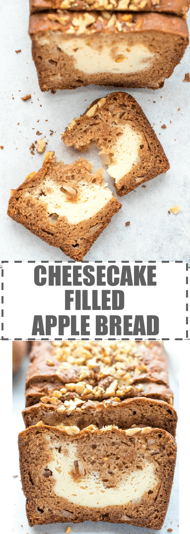 Cream Cheese Filled Apple Bread Recipe - sweet and flavorful apple bread with a cheesecake layer in the middle. Topped with walnuts. Moist, packed with warm spices, great for fall, with a cup of coffee or tea.