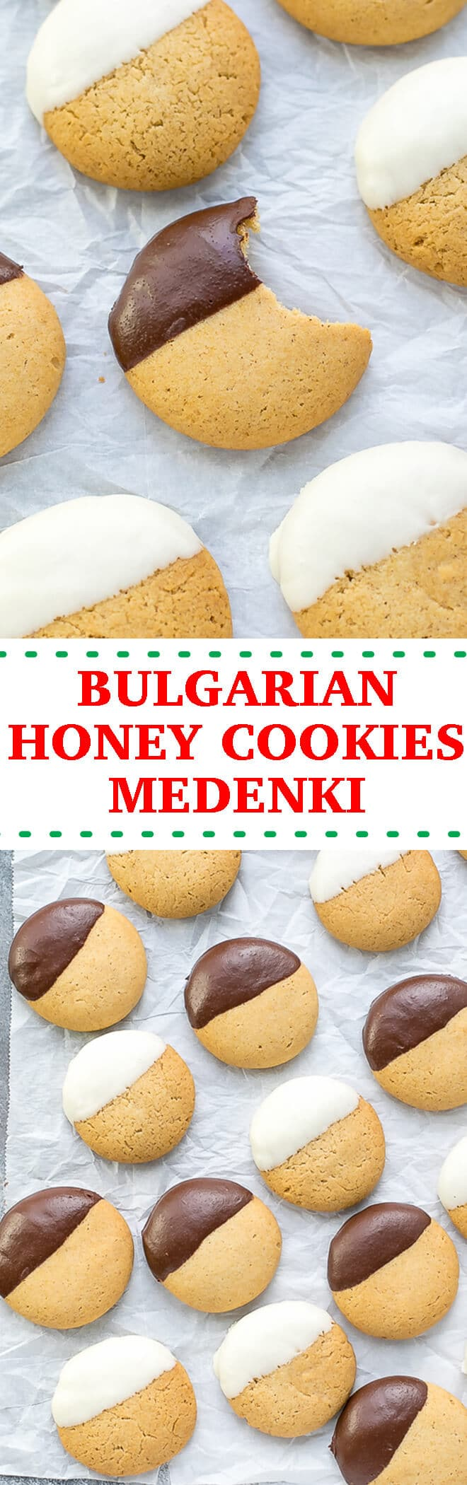 Bulgarian Honey Cookies Medenki Recipe - these soft, spiced cookies, dipped in chocolate make the perfect sweet treat this holiday season.