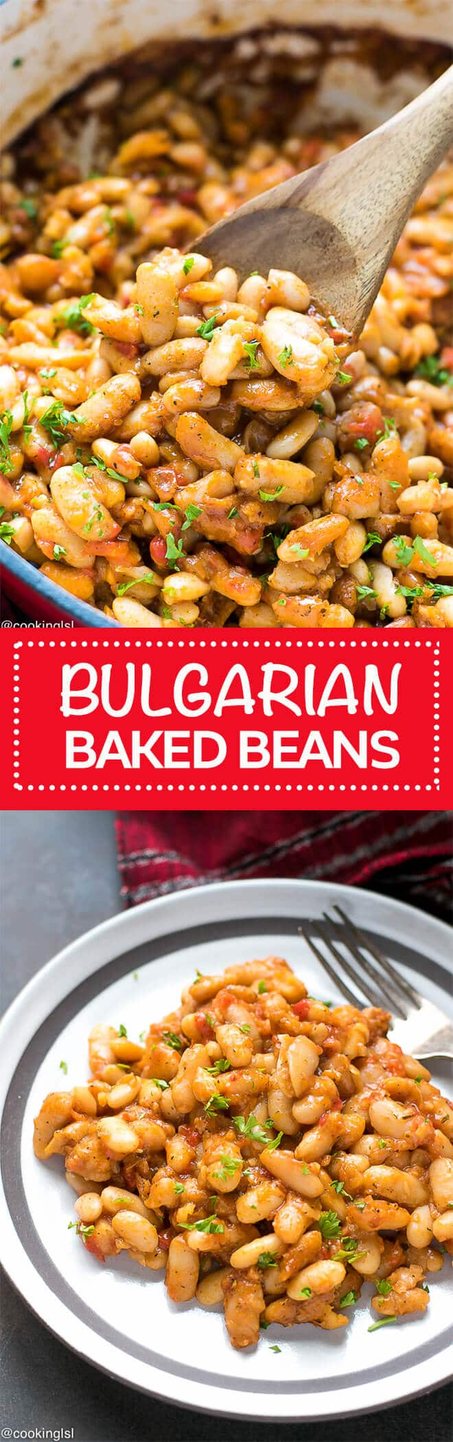 Easy Bulgarian Baked Beans Recipe - one of the easiest ways to make baked beans, with minimum ingredients, but wonderful flavor. This comfort dish is inspired by a Bulgarian recipe and perfect for the colder months of the year and holidays.