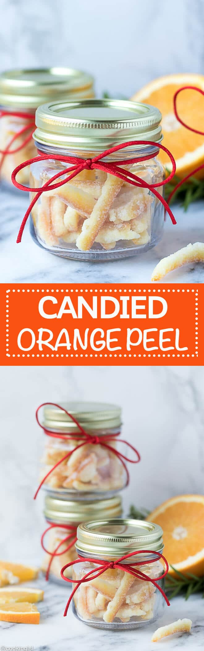 Easy Candied Orange Peel Recipe - very easy to make, great for snack, garnish and baking. Perfect for the holidays! #Christmas #ediblegift #giftinajar