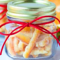 Candied orange peel in a jar