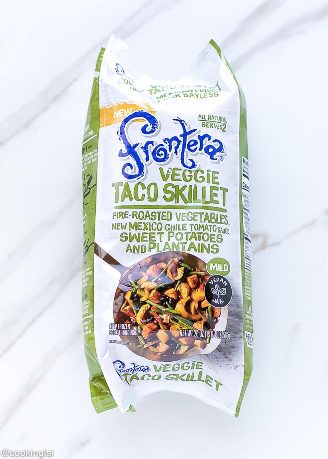 Barbacoa Tostadas Recipe With Frontera Frozen Skillets, veggie taco skillet.