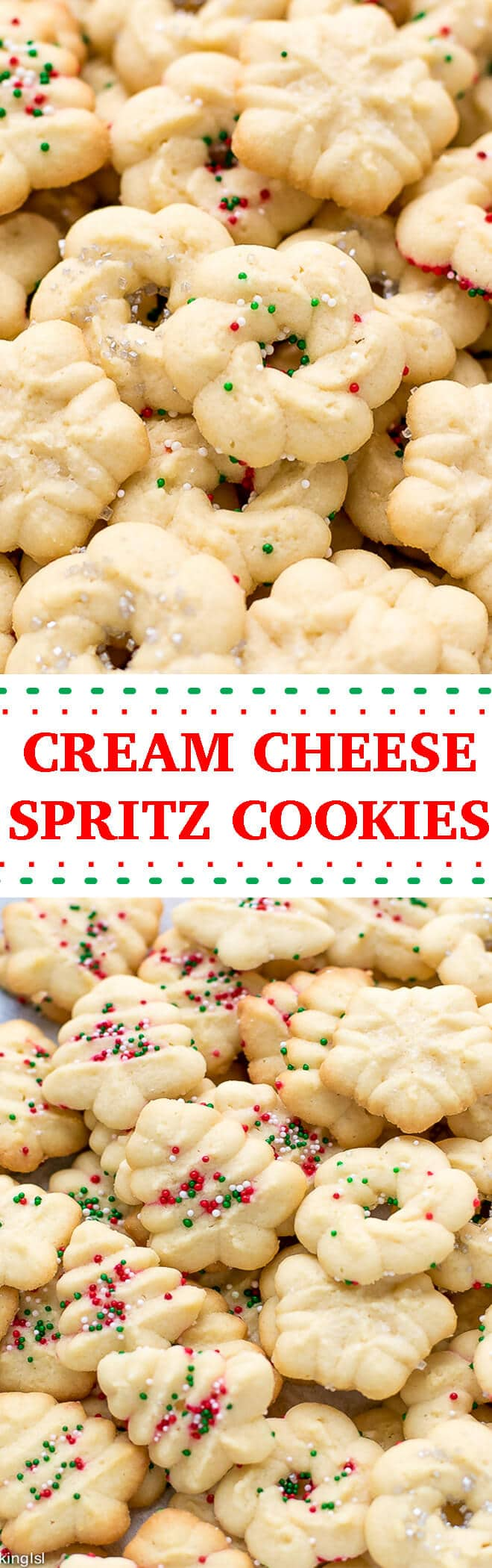Easy Cream Cheese Spritz Cookies Recipe - made with a cookie press, soft, buttery, sweet and delicious! Very easy to make with minimal effort, perfect for the holidays or a party!