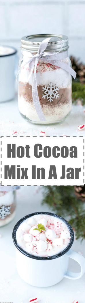 Ever wonder how to make aHot Cocoa Mix In A Jar, a fun and festive holiday gift? It actually is pretty easy, all you need is cocoa, sugar, powdered milk and toppings like mini marshmallows and crushed candy canes (toppings are totally optional).