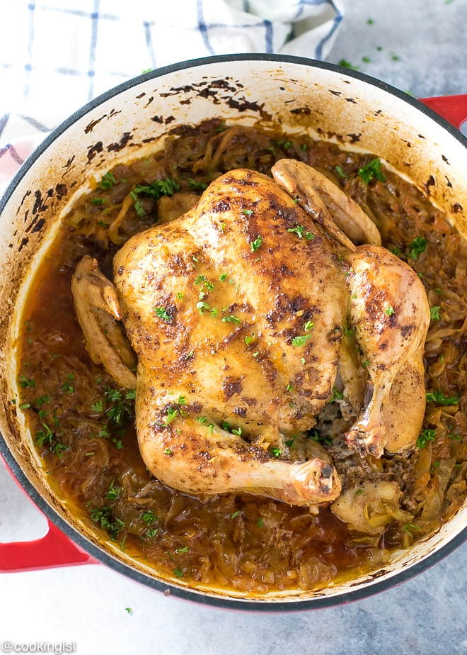 Whole Chicken And Cabbage Recipe In A Dutch Oven Braiser Cooking Lsl