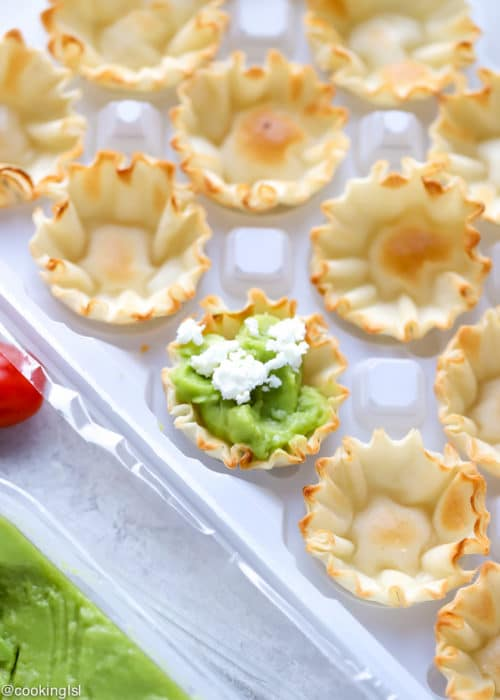 Avocado Filo Cups - Simply Avocado Sea Salt And Garlic Herb Dips, mini fill quiche shells filled with avocado dip, topped with feta