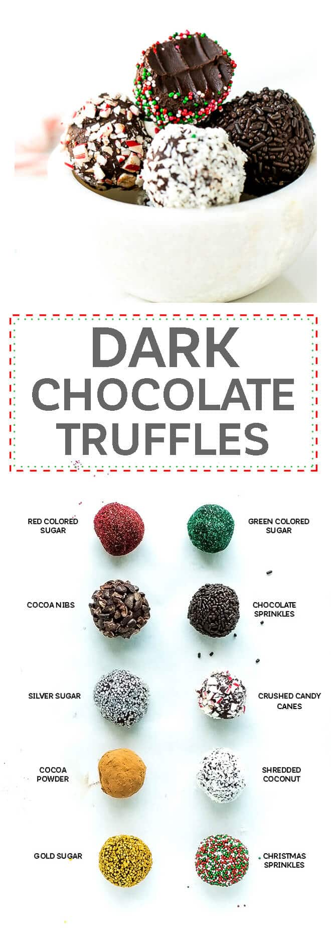 Dark Chocolate Peppermint Truffles Recipe - just 3 simple ingredients + sprinkles and mint ectract. These truffles are easy to make and perfect for an edible gift around the holidays.