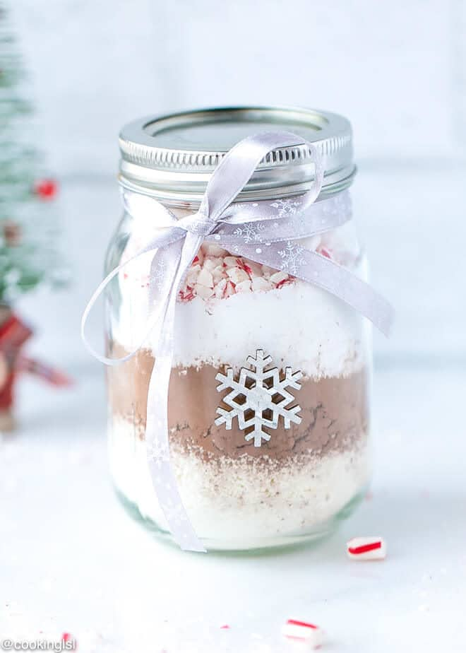 Hot Cocoa Mix In A Jar great for a Christmas decor and edible gift.