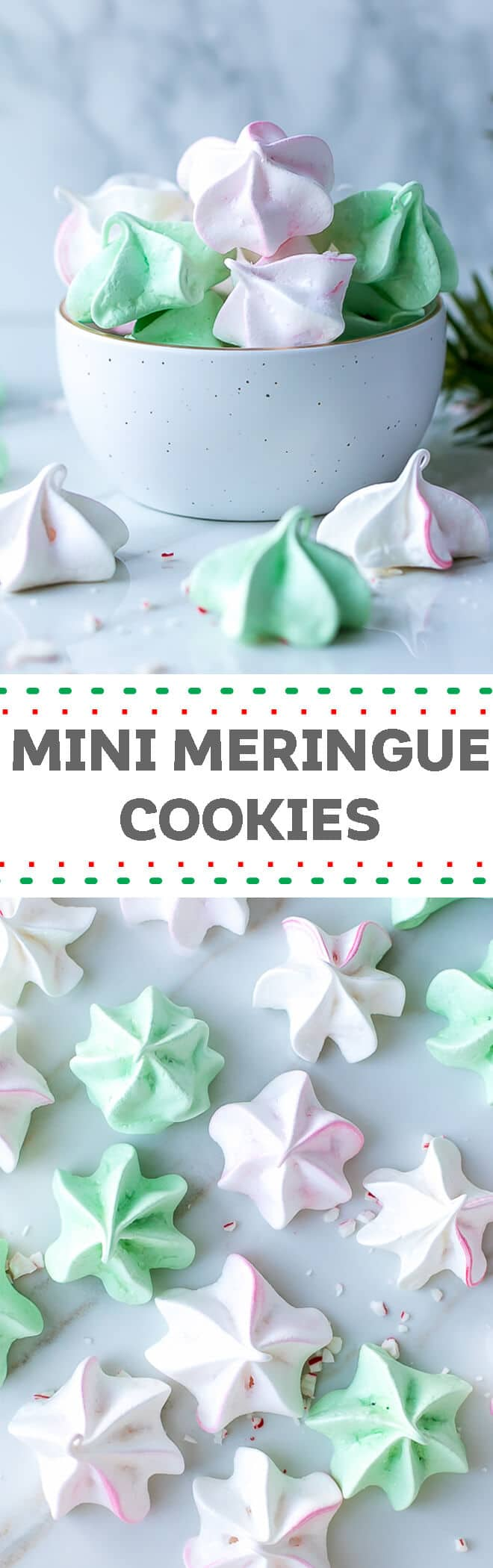 Mini Meringue Cookies Recipe - cute, festive and elegant, perfect for celebration. These mini meringue cookies are made for Christmas, colored in pink and light green, great for topping cakes and other desserts and the perfect addition to any holiday cookie platter.