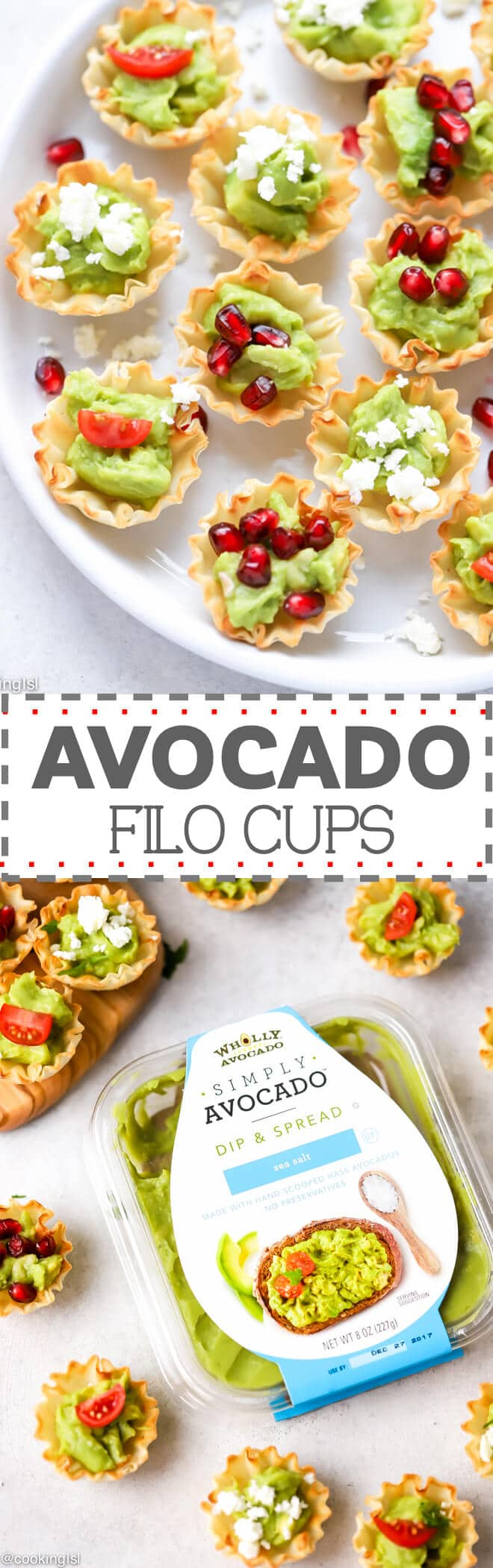 Avocado Filo Cups - quick and easy to make snack, which is also great for a party appetizer. Made with two simple ingredients -  store bought mini filo dough cups and SIMPLY AVOCADO™ Sea Salt, plus topping, that is totally optional. Creative and effortless mini bites, that are nutritious, festive and delicious.