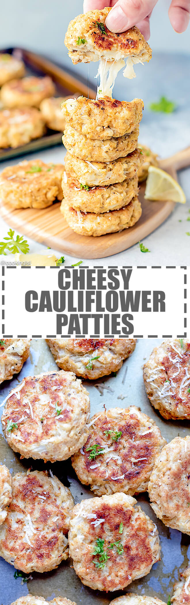 Cheesy Cauliflower Patties Recipe {Baked} - easy to make and fun to eat, these mini cauliflower and mozzarella patties are great for both kids and adults.