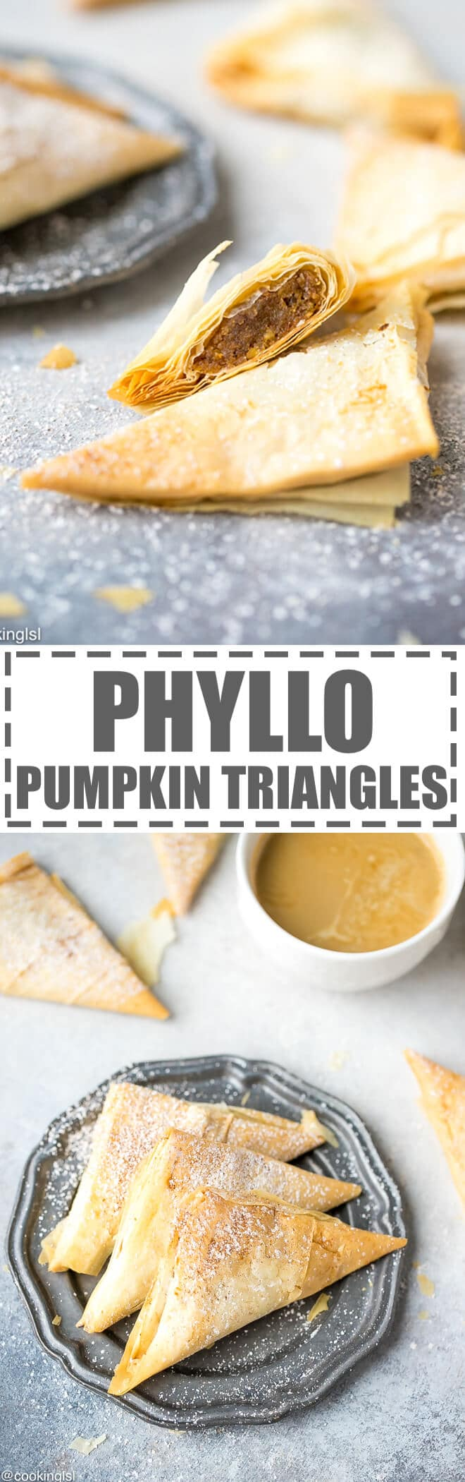 Pumpkin Phyllo Triangles Recipe - flakey filo bites, filled with flavorful mixture of shredded pumpkin, breadcrumbs, nuts, sugar and cinnamon. Perfect for a cup of coffee or tea.