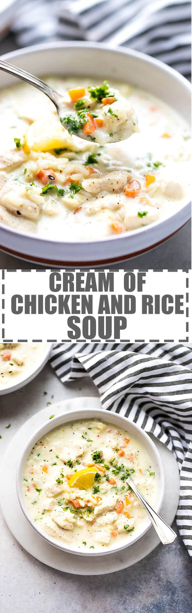 Easy Cream Of Chicken And Rice Soup Panera Inspired - the best soup on a cold and snowy day! Creamy, flavorful, filling and very easy to make in one pot. No slow cooker required. #chickensoup #chickenrecipes #creamofchickensoup #rice