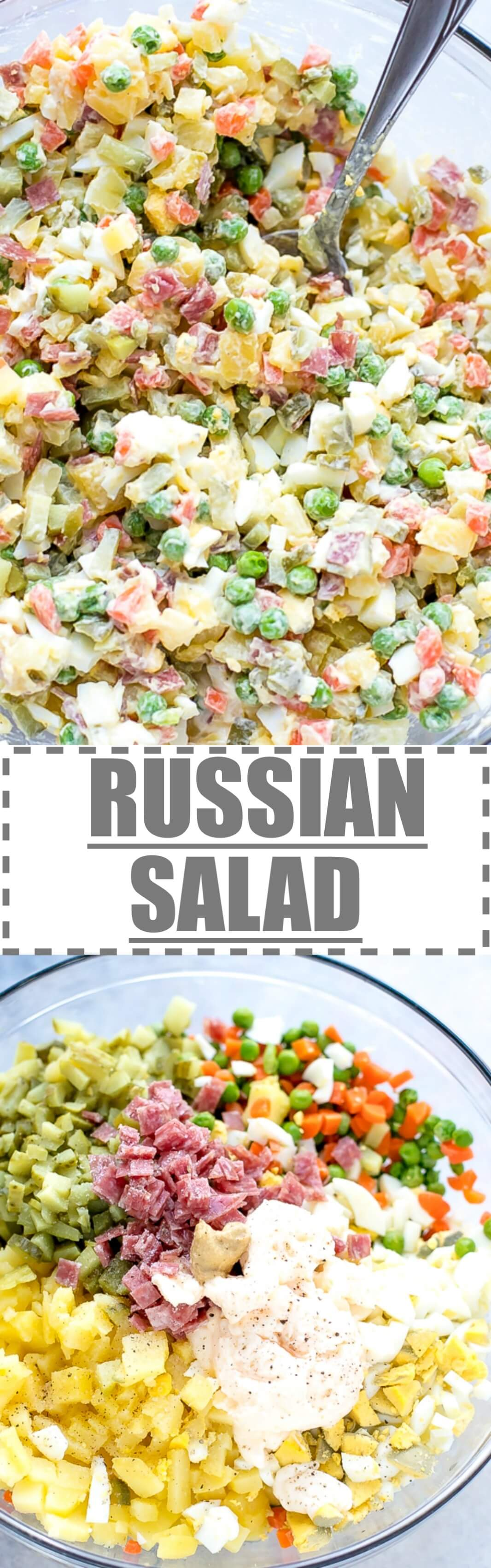 Olivier Russian Salad Recipe - this is the Bulgarian version of a very popular Russian salad, made with diced potatoes, carrots, pickles, eggs, peas, sometimes meat like ham (some people use bologna or salami) and a  creamy dressing made with mayo.